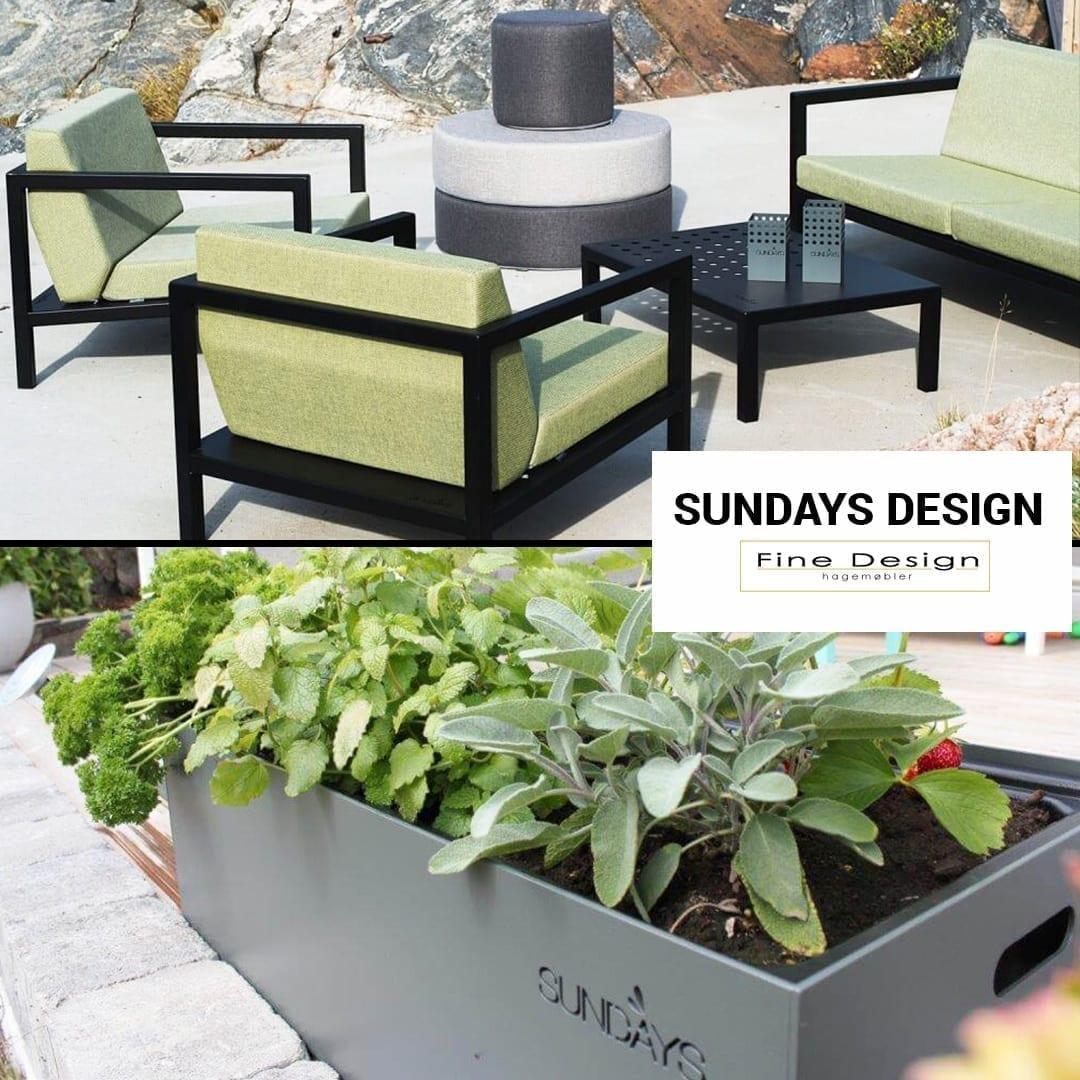 Sundays plantekasse nederst og utesofasett i grønt øverst