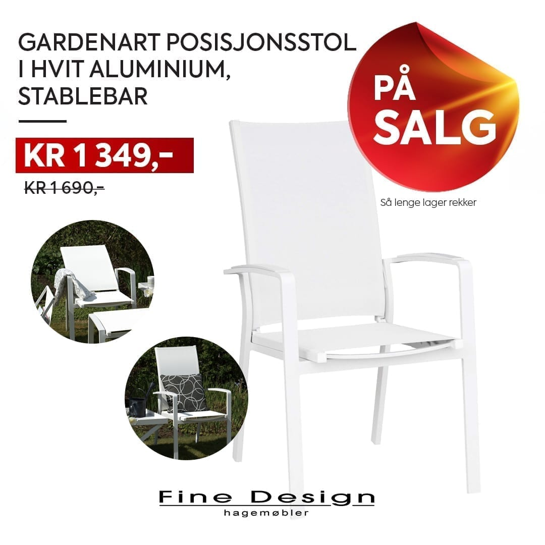 Hvit Gardenart posisjonsstol på salg