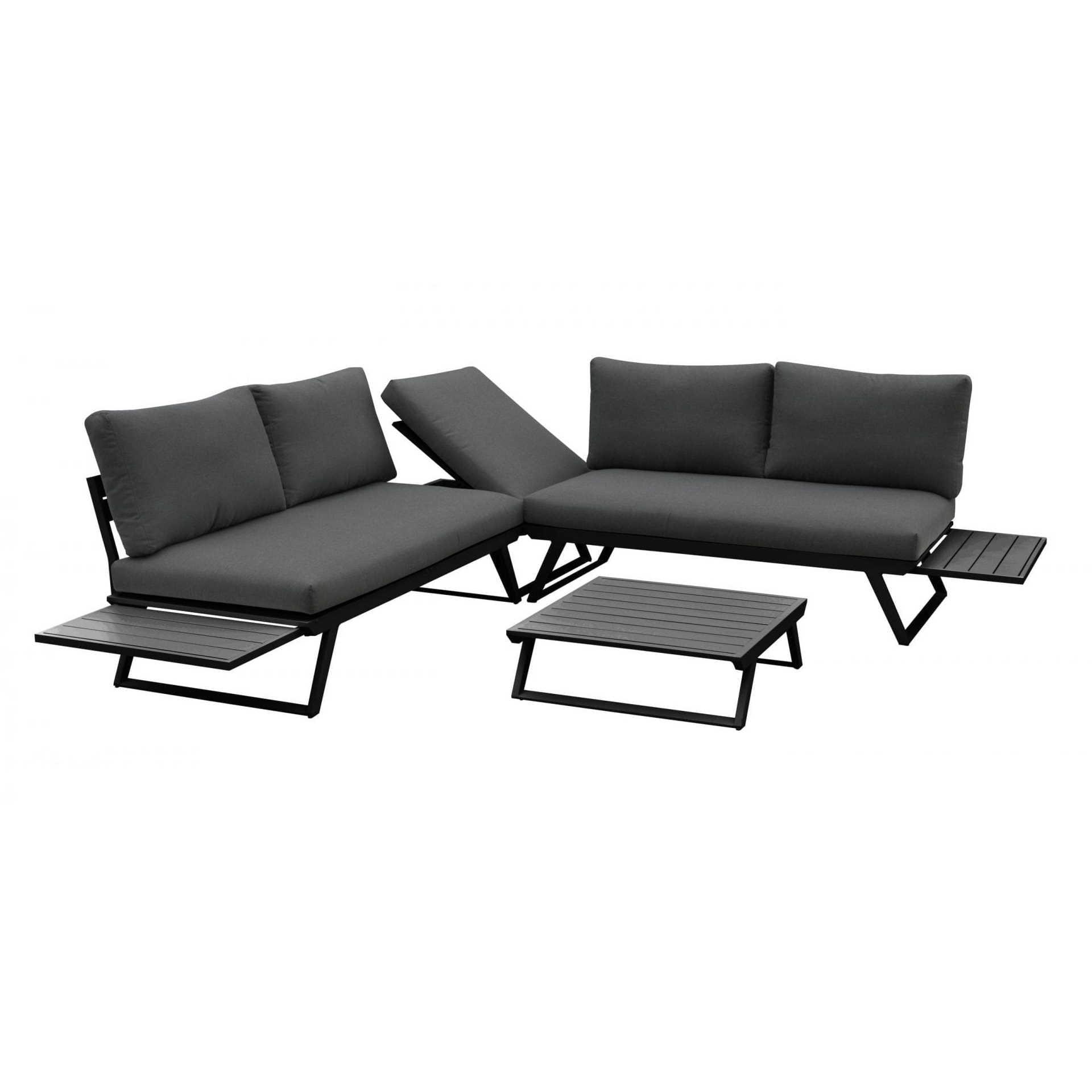 Gardenart Fleksibel Hjørnesofa Med Bord I Sort Aluminium. Hagemøbler og utemøbler - Fine design
