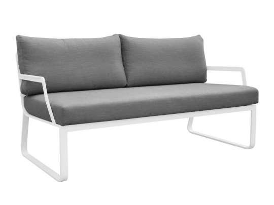 Gardenart 2 seters sofa med armlener, hvit aluminiumsramme og puter i grå vannavstøtende tekstil.
