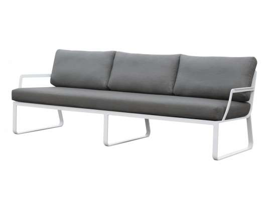 Gardenart 3 seters sofa med armlener, hvit aluminiumsramme og puter i grå vannavstøtende tekstil.