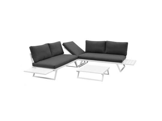 Gardenart Fleksibel Hjørnesofa Med Bord I Hvit Aluminium Hagemøbler og utemøbler - Fine design