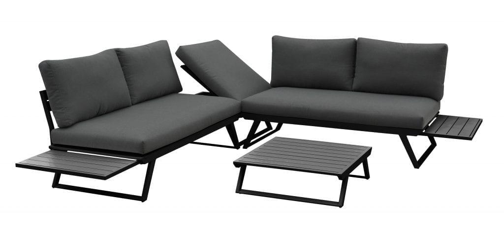 Gardenart fleksibel hjørnesofa med bord i sort aluminium og grå puter