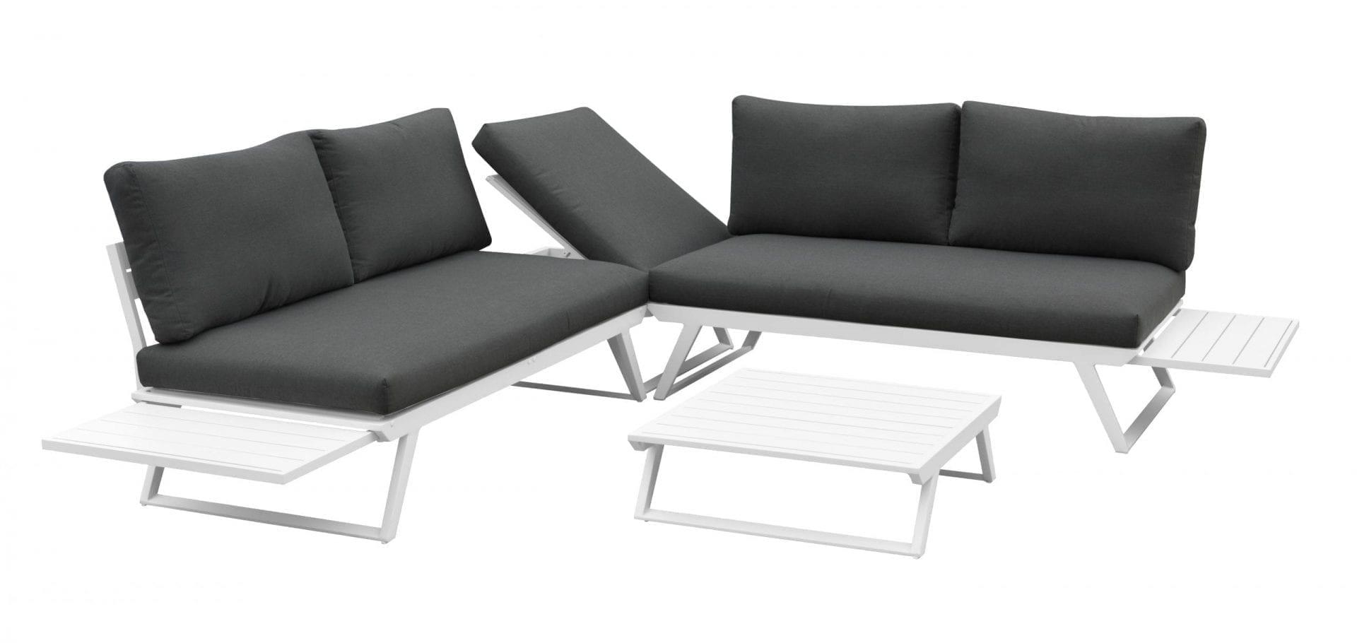 Gardenart fleksibel hjørnesofa med bord i hvit aluminium og grå puter
