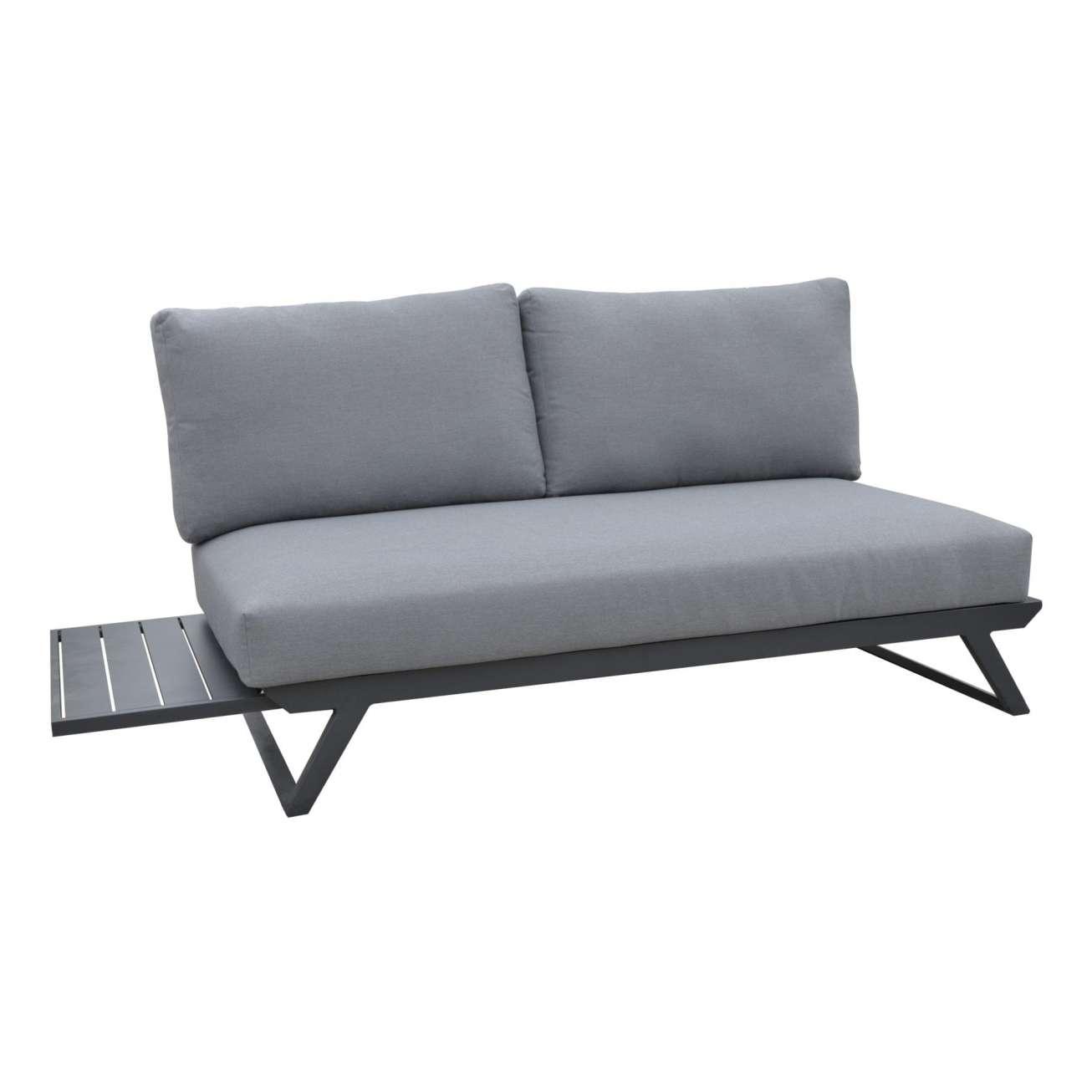Gardenart fleksibel hjørnesofa - 2-seter i sort aluminium med sidebord og grå puter
