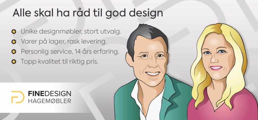 Fine Design-Marianne og Ketil i tegnet utgave - herr og fru Hagemøbler