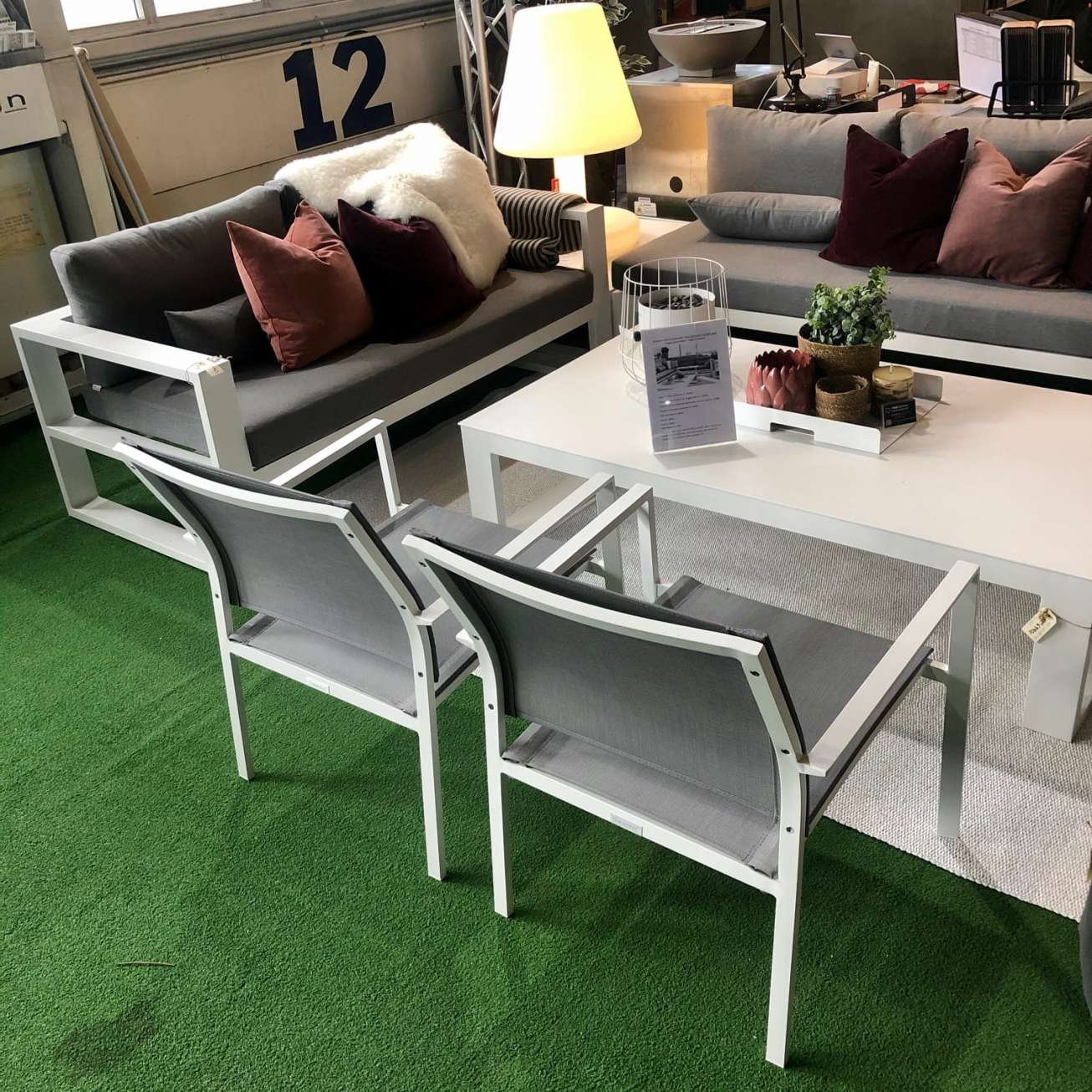 Gardenart Loungestol Hvit/grÅ, Stablebar (100575) Hagemøbler og utemøbler - Fine design