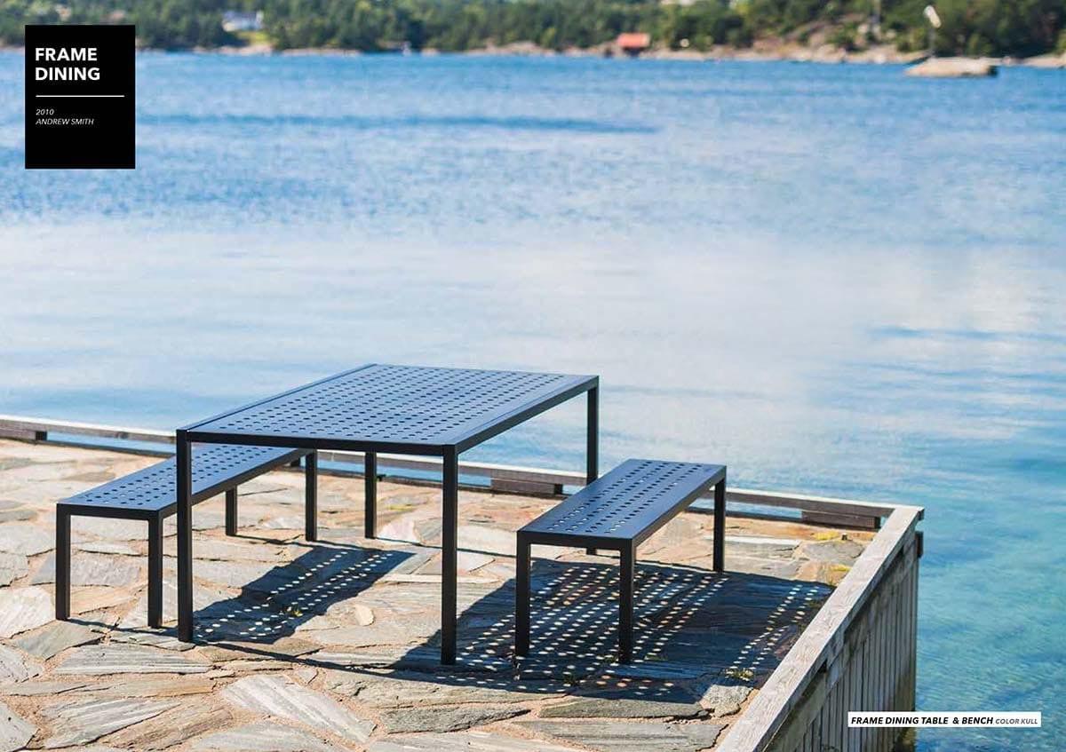 Frame-hagebenker-og-bord-på-brygga Hagemøbler og utemøbler - Fine design