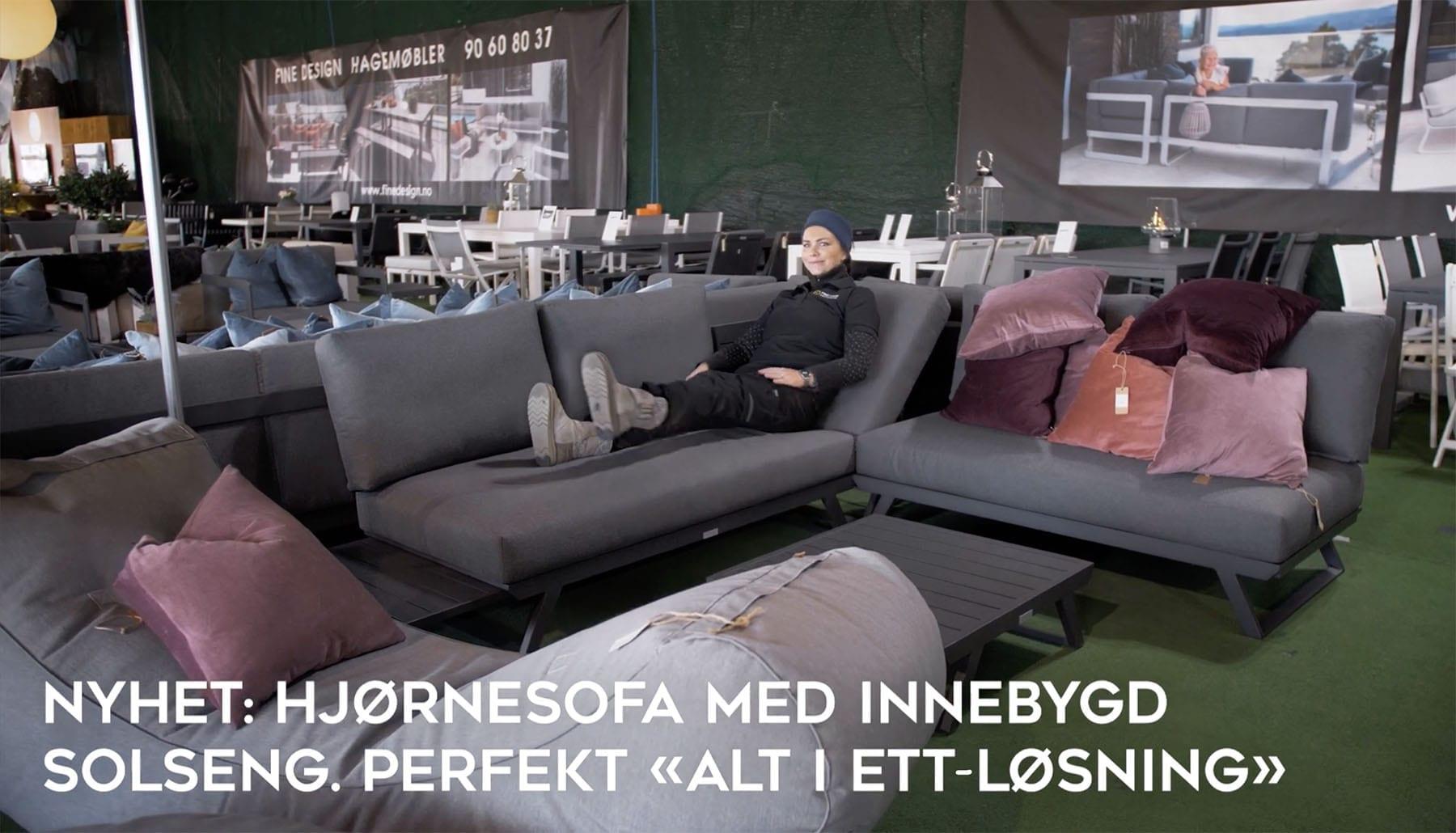 Hjørnesofa-med-innebygd-solseng Hagemøbler og utemøbler - Fine design