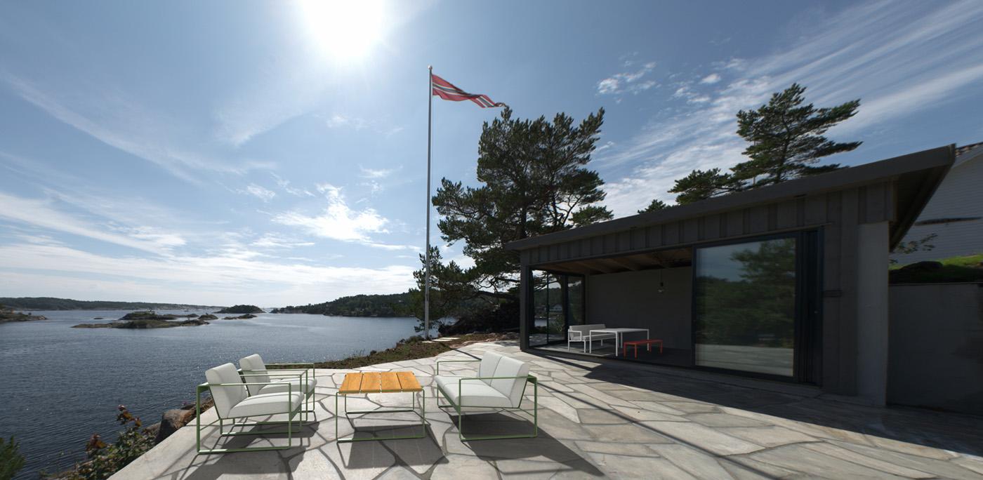 Sundays Design Core-utemøbler ved sjøen
