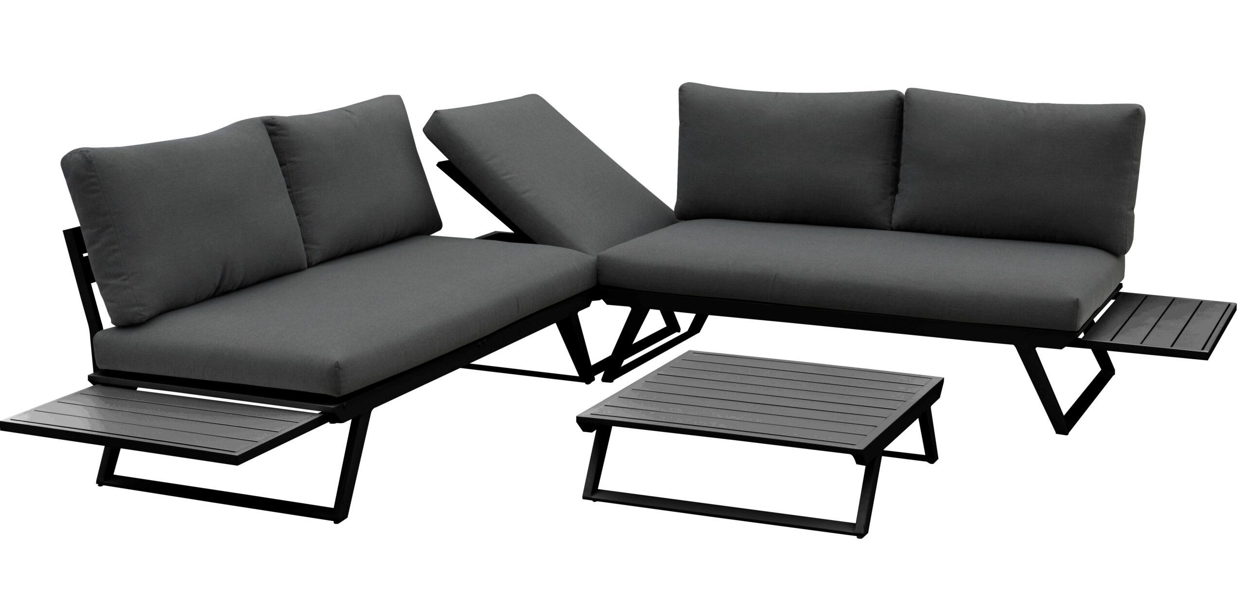 Svart utesofasett i aluminium med bord fra Fine Design hagemøbler