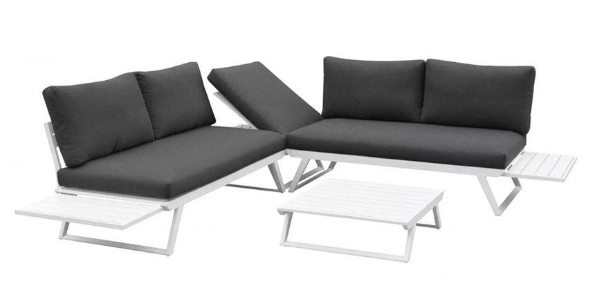 Fine Design 100750-sofa i aluminium som kan brukes som solseng